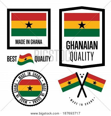 Ghana quality isolated label set for goods. Exporting stamp with ghanaian flag, nation manufacturer certificate element, country product vector emblem. Made in Ghana badge collection.