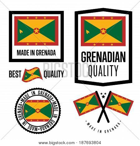 Grenada quality isolated label set for goods. Exporting stamp with grenadian flag, nation manufacturer certificate element, country product vector emblem. Made in Grenada badge collection.