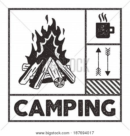 Wanderlust Camping stampssa. Old school hand drawn t shirt Print Apparel Graphics. Campfire, mug and arrow symbols. Textured Stamp effect. Vintage Style. monochrome