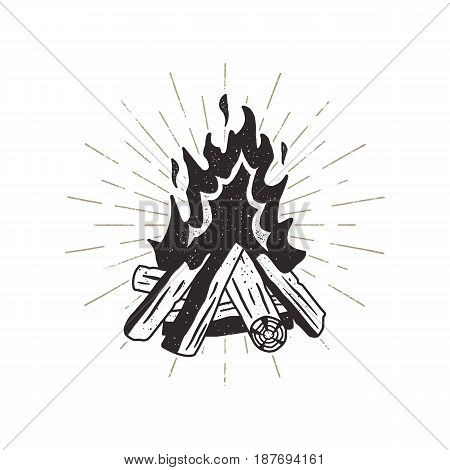 Hand drawn campfire illustration. Sunbursts included. Outdoor camping themed print for t-shirt, isolated on white background. Letterpress old style.
