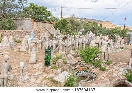 NIEU BETESDA SOUTH AFRICA - MARCH 21 2017: Concrete and glass sculptures at the Owl House in Nieu-Betesda an historic village in the Eastern Cape Province