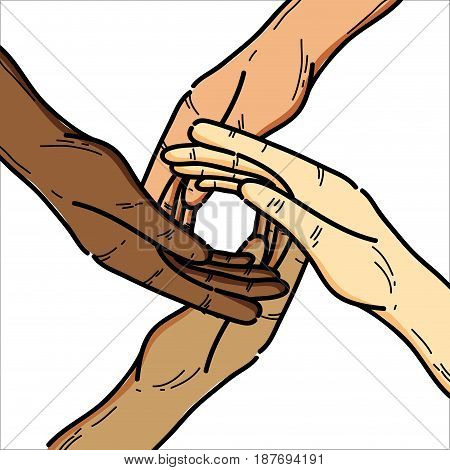 hands together to celebrate freedom day, vector illustration