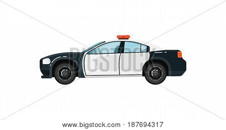 Police car isolated vector illustration on white background. Service auto vehicle, city emergency transport, urban roadside assistance car.