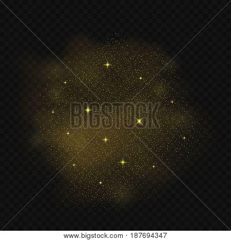 Golden glitters cloud background. Golden magic dust. Meteoric shower, starfall illustration