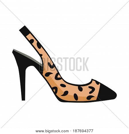 Leopard slingback shoe with black toe on high heel isolated on white background. Fashionable women footgear for chic look. Footwear with print vector illustration. Bright accent in casual outfit.