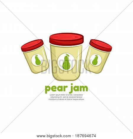 Template logo for pear jam. Bank of delicious jam