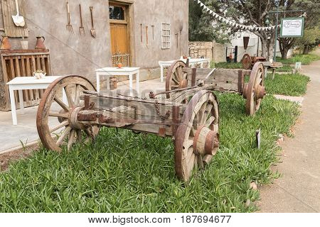 NIEU BETHESDA SOUTH AFRICA - MARCH 21 2017: Part of an ox-drawn wagon in front of a restaurant in Nieu-Bethesda an historic village in the Eastern Cape Province