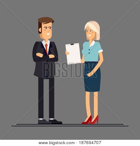 Head of the company, the chief and secretary woman. Business couple. Vector illustration in a flat style