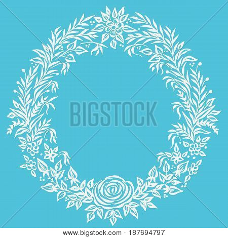 Vector fine floral round frame. Decorative element for invitations and cards. Border element. Vector Ink illustration.