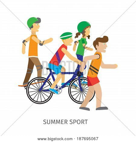 Summer sport. Children going in for sport isolated on white background. Boy skateboarder, girl roller skate, guy on bike and runner. Active way of life concept. Sportive teenagers banner. Vector