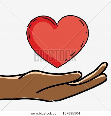 hand with heart to celebrate freedom juneteenth, vector illustration