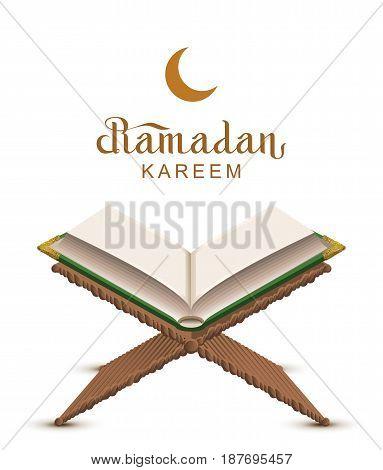 Ramadan Kareem text and open book Koran. Isolated on white vector illustration greeting card