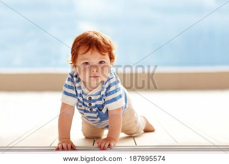 cute ginger baby boy crawling on the floor
