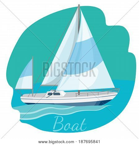 One-decked boat with sails vector illustration isolated on blue. Traveling by sea concept. Modern yacht realistic design