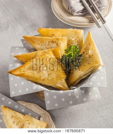Samosas Asian snack street food in a basket