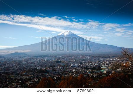 Aerial view of Mt Fuji Fujiyoshida Japan