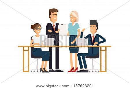 A group of people dressed in strict suit standing and sitting of the table with laptop and smiling. Meeting business people. Teamwork. Discussion of the company s business strategy.