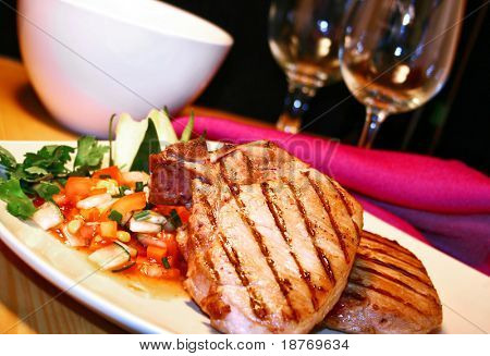grilled pork chops with sweet and spicy salsa