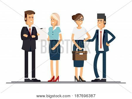 Cool flat design corporate business people line-up. Group of office workers standing smiling. Men and women in office wear full length, isolated