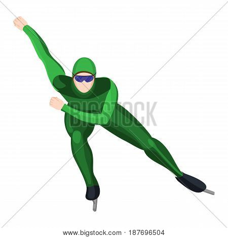 Professional athlete skating in green uniform vector illustration isolated on white background. Figure skater doing winter sport activity