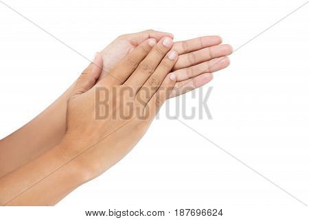 Women clapping hands Applause isolated on white background