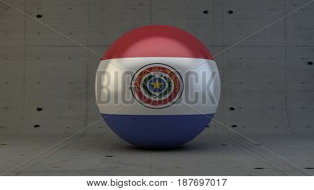 Paraguay flag sphere icon isolated in concrete room 3d render