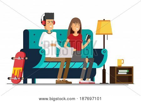 Young adult man and woman working at home vector concept illustration. Freelancer character working from home with laptop sitting in cozy armchair with a cup of hot tea or coffee. Home office. Remote work