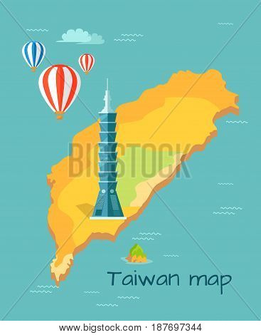Cartoon Taiwan map with Taipei tower, one of highest in world. Chinese island in Pacific Ocean with air balloons above vector illustration. Famous building marked on map as place of interest.