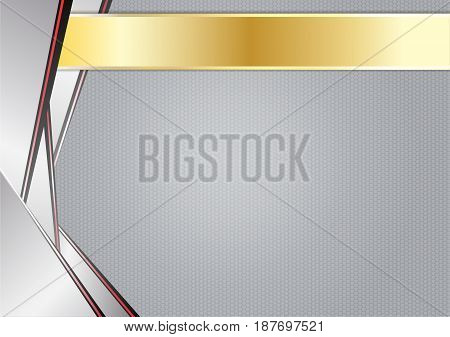abstract sharp metallic, aluminum with gold frame,  vector illustration.