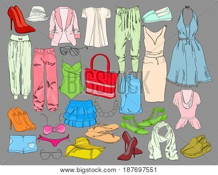 Vector illustration of Summer travel packing for vacation. Woman clothing set. Vector hand drawn isolated objects. Colorful drawing fashion collection for girl.