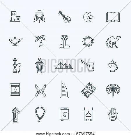 Set of United Arab Emirates icons. Line style