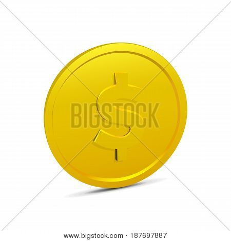 Coin isolated on white background. Realistic 3D gold coin icon. Vector illustration of money, currency in dollars.