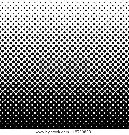 Monochrome halftone abstract background of circular elements and in the direction from bottom to top