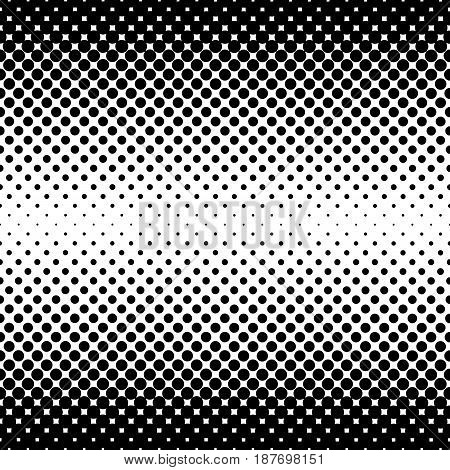 Monochrome halftone abstract background of circular elements and in the direction from the sides to the center vertically