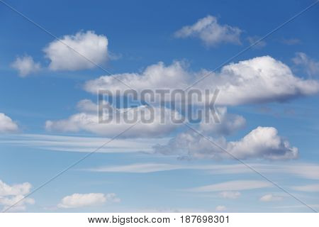 Cumulus and cirrus clouds in the blue sky in the daytime