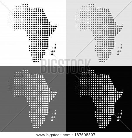 Set of halftone vector Africa map in monochrome colors