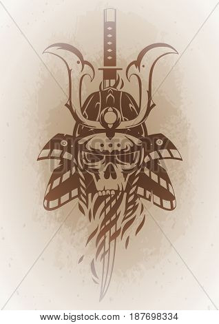 Graphic skull in traditional samurai helmet pierced with a sword. Vector art on vintage background