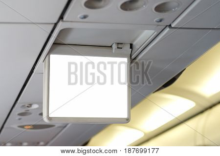 closeup of blank display screen in the airplane