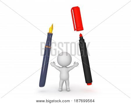 3D Character with fountain pen and red marker. Image depicting writing instruments.