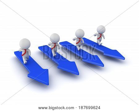3D Characters running on blue arrows. Image conveying competition.