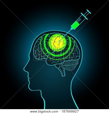 The injection syringe into the brain of truth serum, brainwashing, the inquiry receiving the true information making new data poster
