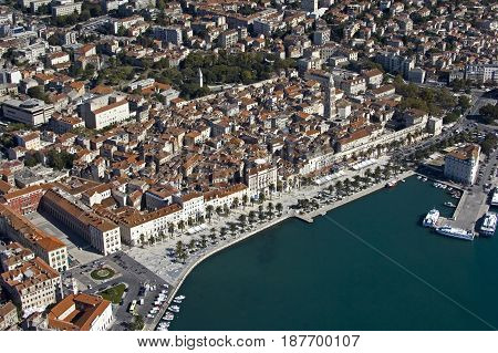 Aerial view of Diocletian Palace and old part of town from the seaside Town Split Croatia