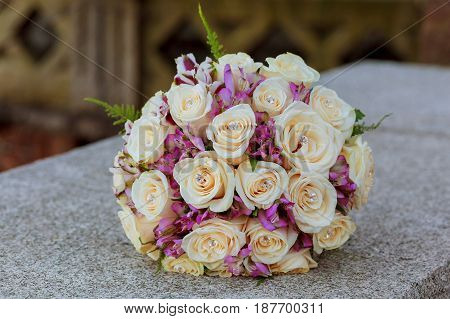 Wedding Bouquet With Pink And Roses
