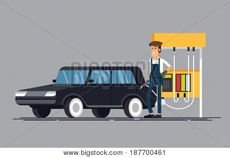 Gas station. Worker filling fills petrol into the car. A friendly worker filling up fuel into the car.