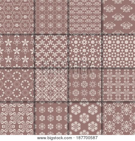 Colored flower seamless background. Brown ornamental collection. Vector illustration
