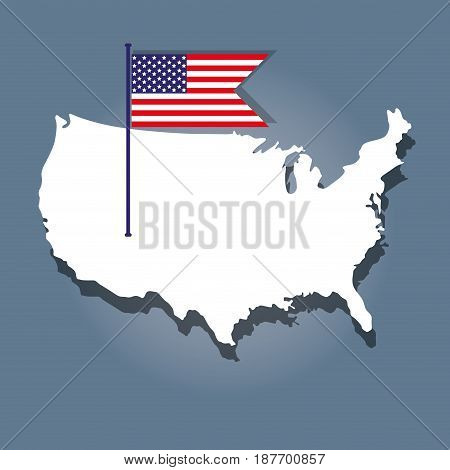 independence day with flag and map design, vector illustration design