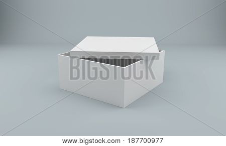 Blank open white box isolated on white. 3d rendering.