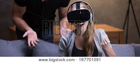 Excited Woman In 3D Glasses