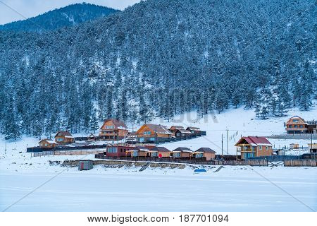 View of Goloustnoye Village at Lake Baikal Russia in the evening