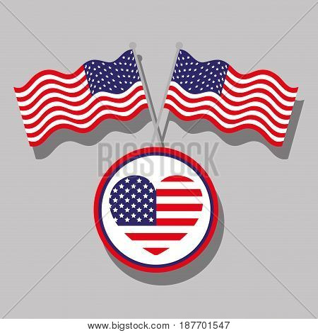 independence day with heart emblem and flags, vector illustration